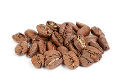 Premium coffee beans isolated on white background. Arabica Stock Image