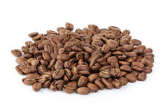 Premium coffee beans isolated on white background. Arabica Stock Photography