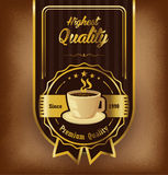 Premium coffee label design over vintage background Stock Image