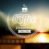 Premium coffee label over defocus background Royalty Free Stock Photos