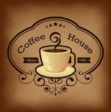 Premium coffee label over vintage background Royalty Free Stock Images