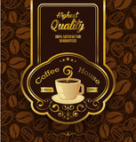 Premium coffee label over vintage background Stock Photography