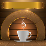Premium coffee logo.Background for coffee shop. Background and logo coffee mugs for the coffee shop Royalty Free Stock Photo