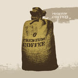 Premium coffee. Vector grunge retro background. Stock Photo