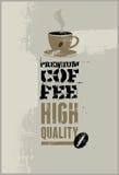 Premium coffee. Vector grunge retro background. Stock Photos