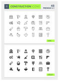 Premium Construction Solid and Line Vector icon set Royalty Free Stock Image