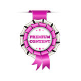 Premium Content, Subscribe. Golden red hanging award ribbon royalty free stock photos