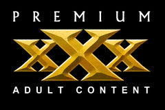 Premium Content. Textured and beveled XXX text on black background Royalty Free Stock Image