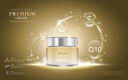Premium cream ads. Translucent cream bottle with ingredients on the bubbles. 3D illustration vector illustration
