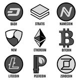 Premium Cripto Currency Logos Set. With different popular virtual web coins isolated vector illustration Stock Photo