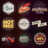 Premium, discount vintage badges. Premium quality, sale and discount vintage badges and vector labels Stock Images