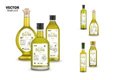 Premium extra virgin olive oil glass bottles. Premium extra virgin olive oil realistic glass bottles with labels. Layout of food identity branding, modern royalty free illustration