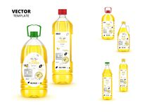 Premium extra virgin sunflower oil plastic bottles. Premium extra virgin sunflower oil realistic plastic bottles with labels. Layout of food identity branding stock illustration