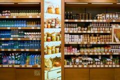 Premium Food Gate. WARSAW, POLAND - CIRCA NOVEMBER, 2017: goods on display at Premium Food Gate in Warsaw Chopin Airport royalty free stock images