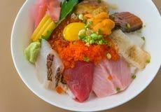 Premium fresh raw-seafood on rice (Kaisen Don) closeup. Stock Photos