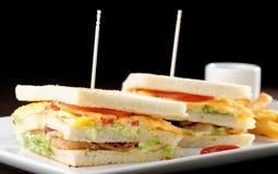 Premium fresh triple decker club sandwich Royalty Free Stock Images