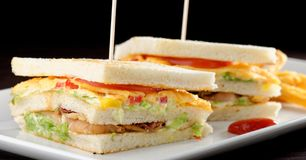Premium fresh triple decker club sandwich Stock Photos