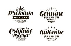Premium, genuine, original, authentic logo or label. Description Stock Images