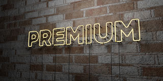 PREMIUM - Glowing Neon Sign on stonework wall - 3D rendered royalty free stock illustration Royalty Free Stock Photos