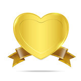 Premium Gold badge tag banner 005. Heart gold medal premium badge tag banner on the white background on the white background Royalty Free Stock Photos