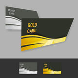 Premium gold silver member card collection. With swoosh wave border and crystal structure. Vector illustration Royalty Free Stock Photo