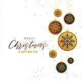 Premium golden christmas balls seasonal greeting background. Vector Royalty Free Stock Image