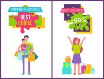 Premium Goods and Best Choice Vector Illustration. Premium goods and best choice -50 off, banners set representing man with kid and bags and happy lady with Stock Photo