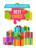 Premium Goods Best Choice Poster with Discounts. Premium goods best choice poster with discount value on colorful sticker on white. Vector illustration decorated Stock Photography