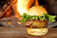 Premium Gourmet bacon cheeseburger Royalty Free Stock Images