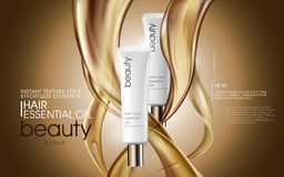 Premium hair oil ads. Cosmetic tubes with oil pouring down, 3d illustration for ads or magazine royalty free illustration