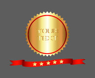 Premium and High Quality Gold Label. And Ribbon with five star Stock Image