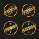 Premium and high quality labels set. Premium high quality labels set on black background. Vector illustration Royalty Free Stock Photos
