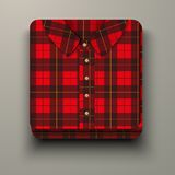Premium Icon flannelette plaid shirt. Stock Photos