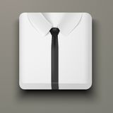 Premium Icon white shirt and black tie. Stock Photography