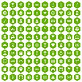 100 premium icons hexagon green. 100 premium icons set in green hexagon isolated vector illustration Stock Photos