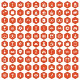 100 premium icons hexagon orange. 100 premium icons set in orange hexagon isolated vector illustration Stock Illustration