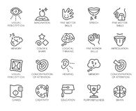 Free Premium Icons Pack On Human Cognitive Abilities And Preschool Development Of Children. Such Line Signs As Fine Motor Stock Photo - 188709380