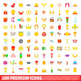 100 premium icons set, cartoon style. 100 premium icons set in cartoon style for any design illustration Royalty Free Stock Images