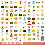 100 premium icons set, flat style Stock Photos