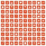 100 premium icons set grunge orange. 100 premium icons set in grunge style orange color isolated on white background vector illustration Royalty Free Stock Images