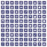 100 premium icons set grunge sapphire. 100 premium icons set in grunge style sapphire color isolated on white background vector illustration Stock Photography