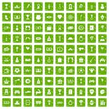 100 premium icons set grunge green Stock Image