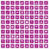 100 premium icons set grunge pink. 100 premium icons set in grunge style pink color isolated on white background vector illustration Royalty Free Stock Images
