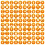 100 premium icons set orange. 100 premium icons set in orange circle isolated vector illustration Stock Images