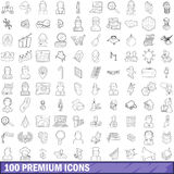 100 premium icons set, outline style. 100 premium icons set in outline style for any design vector illustration Royalty Free Stock Photography