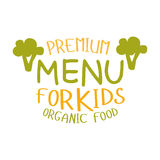 Premium Kids Organic Food, Cafe Special Menu For Children Colorful Promo Sign Template With Text Stock Photography