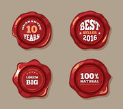 Premium labels on wax seal stamps vector illustration Royalty Free Stock Photos