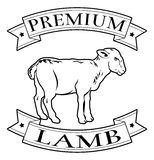 Premium lamb food label Stock Photos