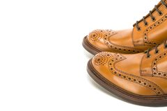 Premium Leather Tanned Brogue Boots Toes Closeup Royalty Free Stock Photography