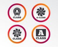 Premium level award icons. A-class ventilation. A-class award icon. A-class ventilation sign. Premium level symbols. Infographic design buttons. Circle Stock Image